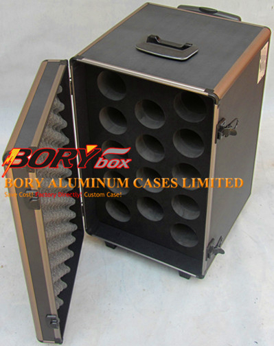 Aluminum metal wine carrier 14 bottle trolley case
