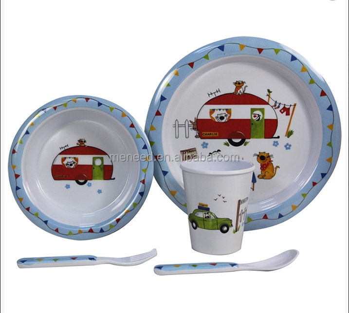 Best selling car printed unbreakable baby feeding 5 pcs melamine dinner set for kids box set