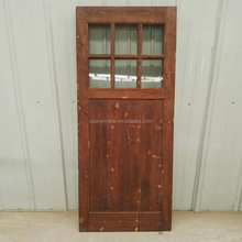 Top Track Knotty Pine Wood Sliding Barn Door Toughened Single Clear Glass Grille Design Wood Door
