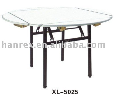 Folding metal and pvc/fireboard top dining table