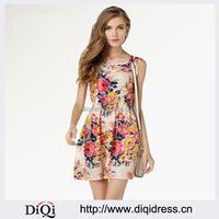 Lady Clothing Plus Size Women Dresses Print Sleeveless Floral Chiffon dresses