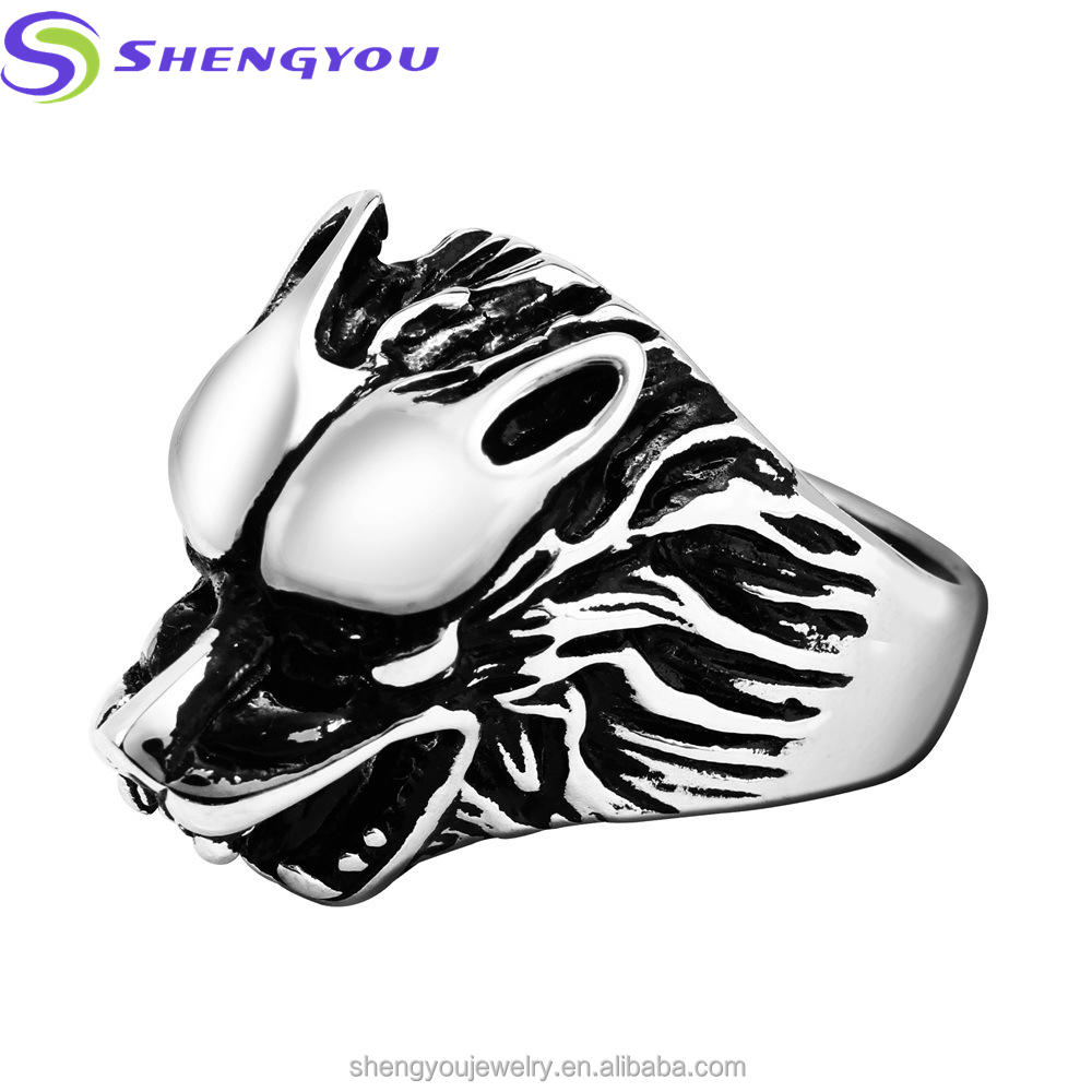 SYSTR-000(8) Saudi Arabia Style <strong>18</strong> <strong>k</strong> Gold Plated Wolf Head Finger Ring Stainless Steel Ring for Men