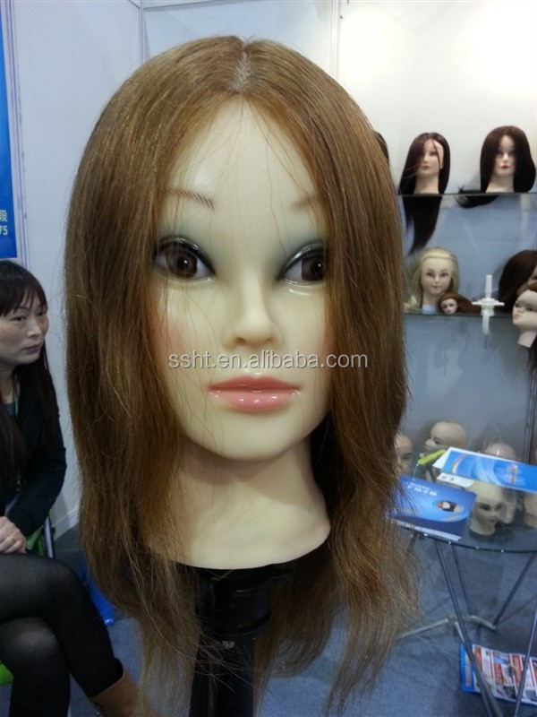 100% Real Human Hair Hairdressing Training Head with Clamp Stand