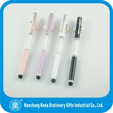 Crystal barrel metal laser screen touch stylus 3 in 1 writing roller pen