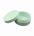 Hot sale high quanlity plastic 5g round green loose powder / finishing powder jar makeup powder compact