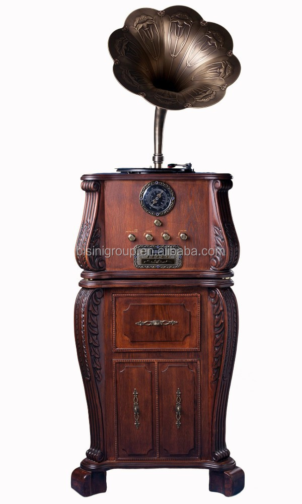 Home Luxurious Decoration Gramophone Player Large Size Delicate Carving Antiqe Gramophone Player