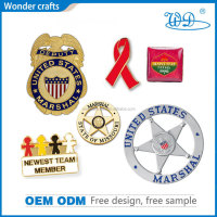 Political 40mm hollow out hydraulic pressure zinc alloy fake gold plated enamel us marshal lapel pin badges