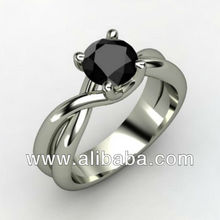 1.75Ct Round cut Black Solitaire 925 sterling silver engagement ring-free ship