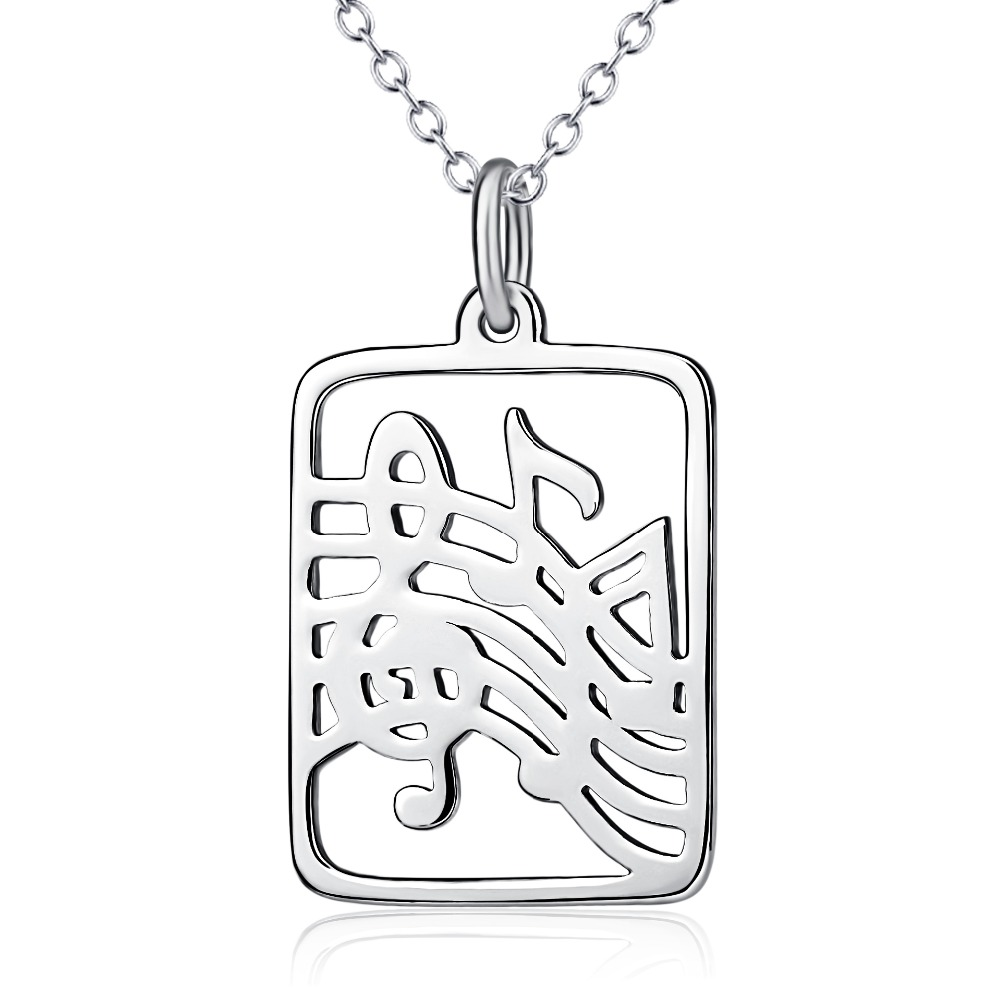 925 Sterling Silver Music Rectangle Charm Necklace Jewelry
