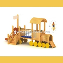 POP Guangzhou safe Wooden Theme outdoor playground playhouse with slide