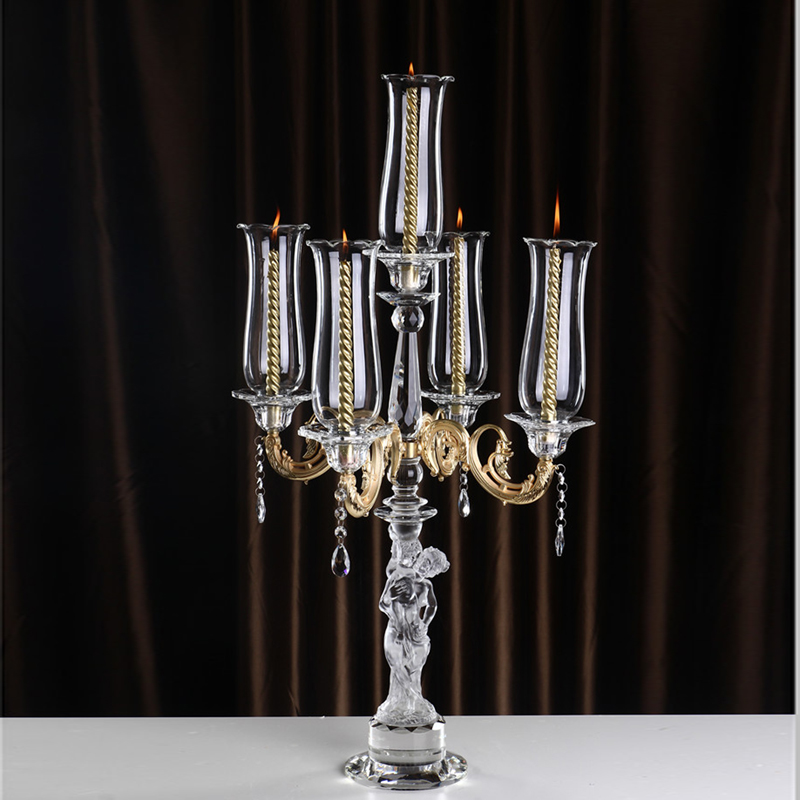 hot sale wedding gold metal crystal candelabra