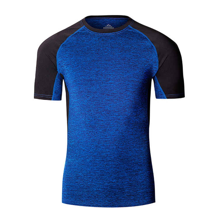 Hot sell gym wear men compression workout tops 90% polyester 10% spandex t shirt