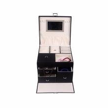 China supplier custom black leather jewellery box