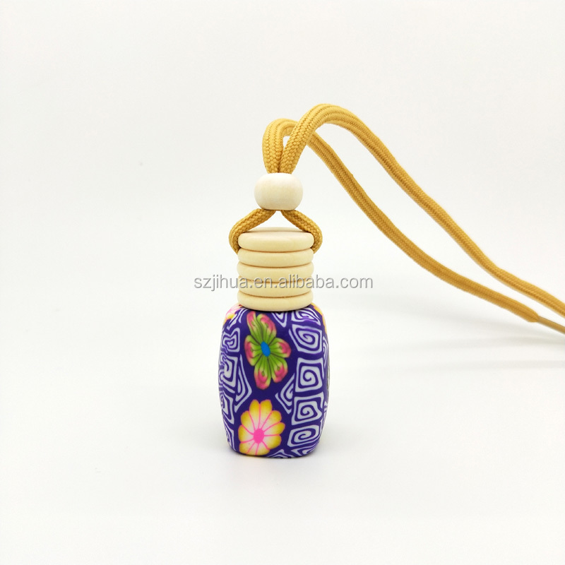 8ml Polymer clay car hanging air freshener bottle rope empty bottle decoration Perfume bottle