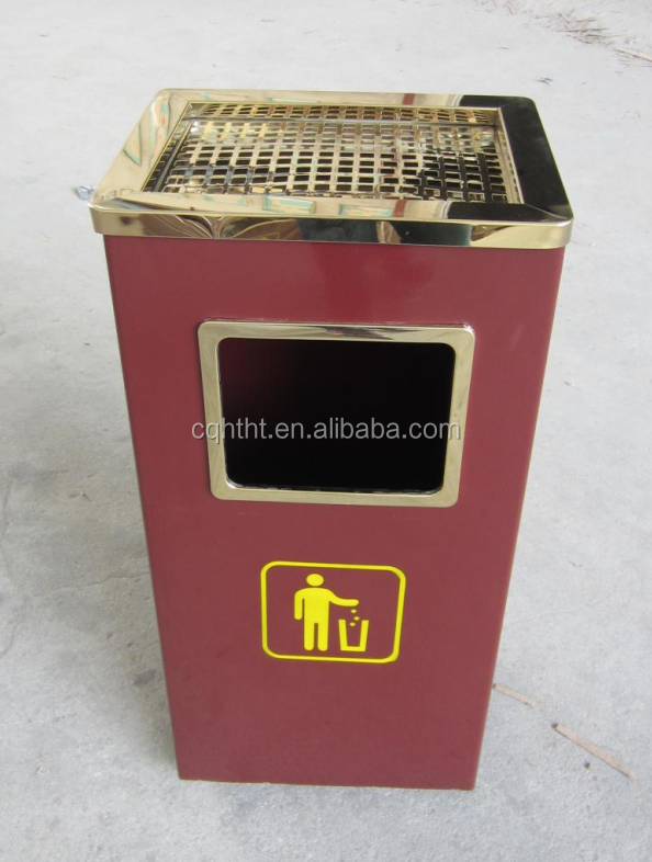 Ashtray top stainless steel indoor waste bin