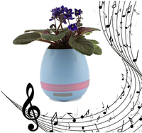 Wireless Mini bluetooth speaker new design smart touch real grow plants music flowerpot