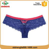 Blue sexy french anti-bacterial top quality women lace panties