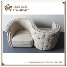 High quality provincial buttoned antique kiss chair living room s shape kiss chair