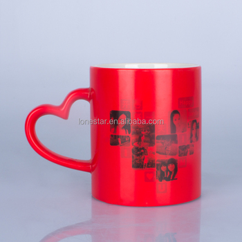 Hot selling DIY custom sublimation color changing mug with heart handle for Valentines gift