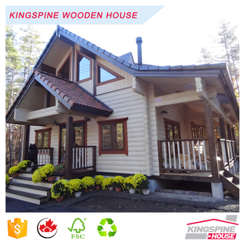 Wooden Log Office Prefabricated wood house with terrace Good quality made in China for Export KPL-057