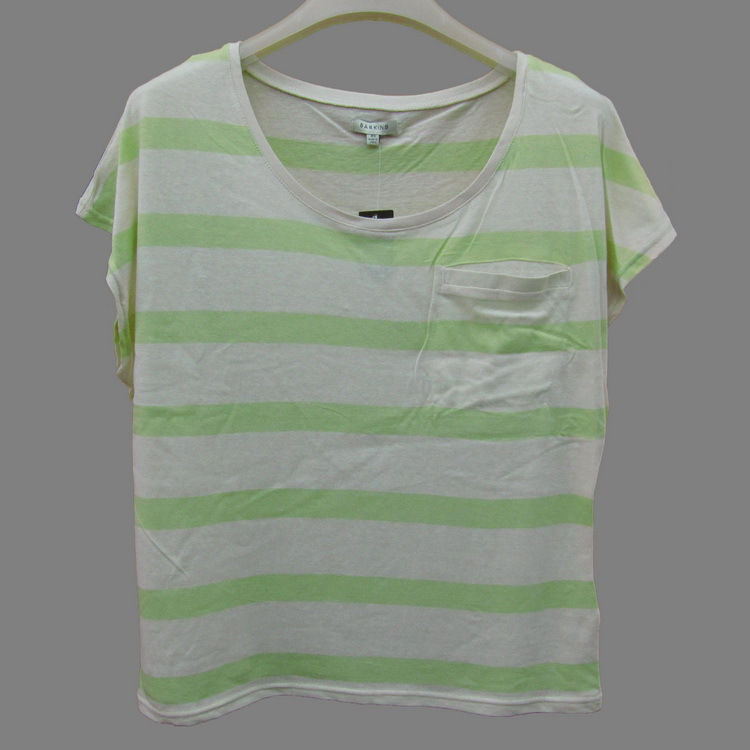 garment stocklot of cheap price striped t-shirt with pockets for women