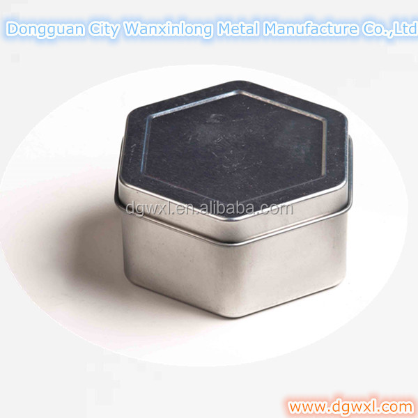 hexagonal metal tin for candle