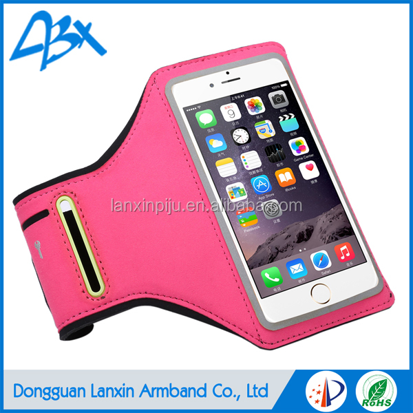 Universal smart neoprene armband case for iphone 6plus Plus with Key Holder and Card Slot;Pink color