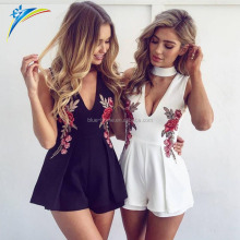 2017 Autumn Elegant clothing V Neck Rose Floral Embroidery Women Playsuits Sleeveless White Casual Beach Rompers Jumpsuits