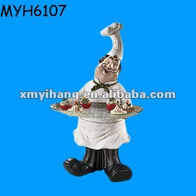 Designed restaurant decoration resin chef figurine with dessert plate