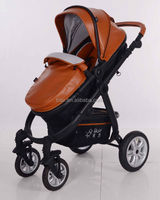 High landscape classic leather good baby stroller pram 3 in 1 wheel B858 Brown