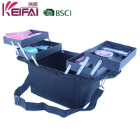 Portable Salon Nylon Fabric Cosmetic Case With 4 Trays