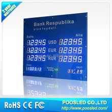 15 rows led bank rate board indoor display \ bank led gold coin rate display board \ bank rate banner panel