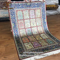 Colorful four season design 3x4.5ft handknotted persain carpet rug 100% silk