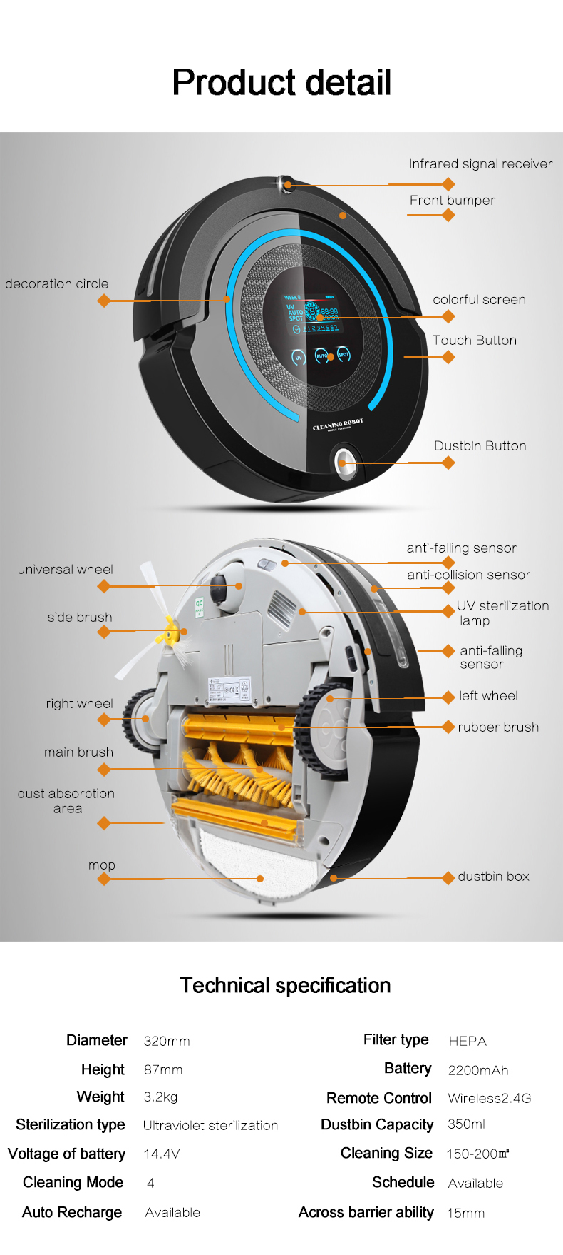 High-end Multifunctional Robot Vacuum Cleaner A338