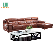 Wholesale living room furniture modern sectional corner sofa set designs modern l shape leather sofa
