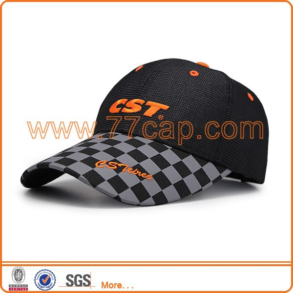 Unique baseball cap polyester fabric ,customized logo embroidery with printed visor