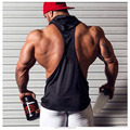 Hot sale logo custom sunmmer tank top hoodie for men sports vest fitness gym shirt suit muscle hoodies