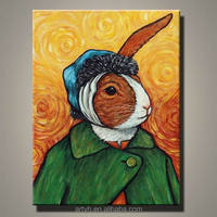 Modern Handmade Van Gogh Selfportrait Rabbit Oil Painting Design