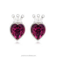 Heart earrings for girls,Import gold plated Jewelry from China