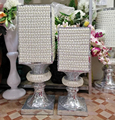 wholesale Home Accent large White Pearl footed Oblong Vase 30*30*100 Wedding Walk Stand
