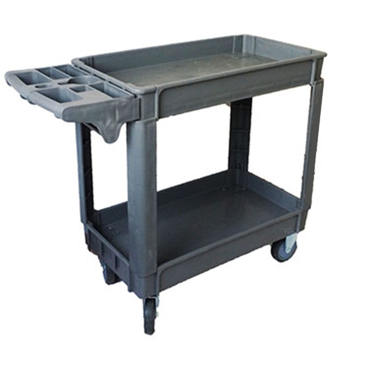 Top Grade With Wheels Handle 2 Tier Trolley Plastic Push Cart