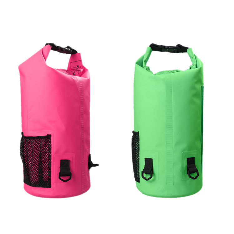 Outdoor boating skiing zipper bottle mesh sack PVC waterproof dry bag backpack