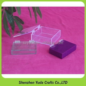 Various colors of acrylic colored storage case with hinge lid, plexiglass candy container for promotion