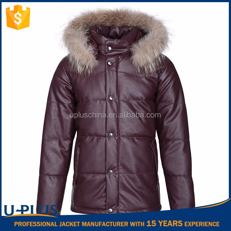 Hot selling faux leather varsity jacket with hood with high quality