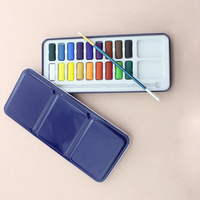 Manufactory wholesale non toxic 18 colors solid cube watercolor paints sets and round paint brush pen for kids