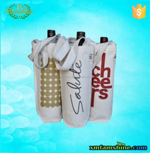 customized cotton canvas wine bottle gift bag