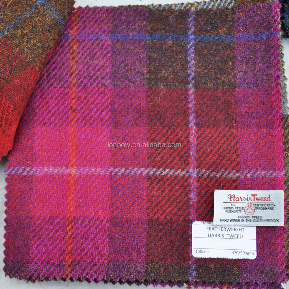 Pink plaid authorized harris tweed fabric 100% virgin wool 150cm width