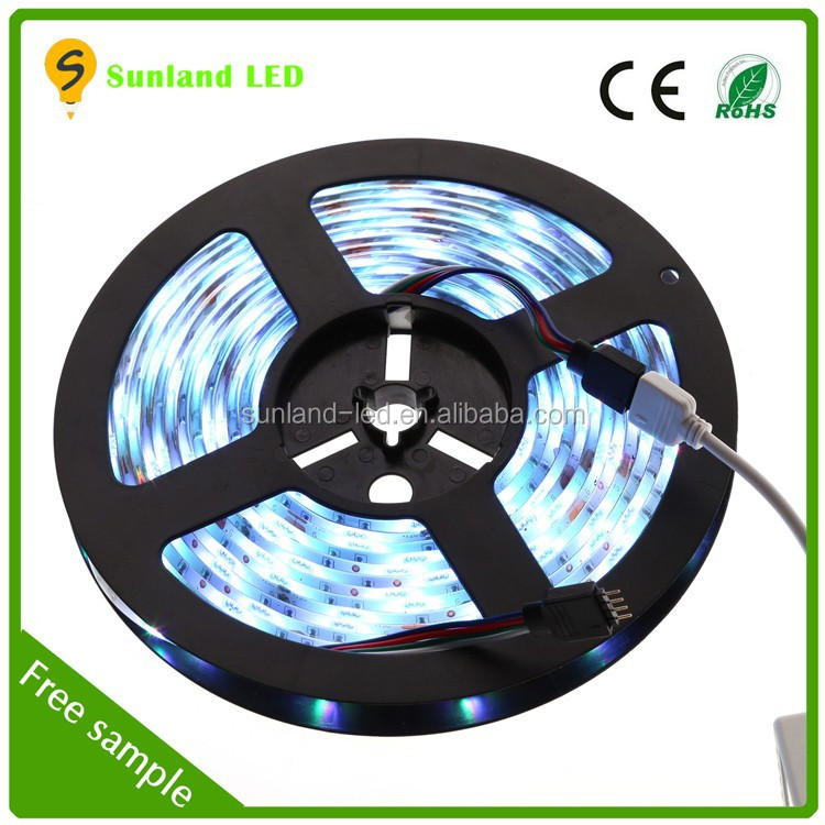 super bright 12 volt IP65 5m 150SMD RGB 5050 addressable white led strip