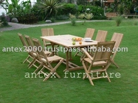 Teak Garden Furniture: Folding Chair With Recta Extending Table