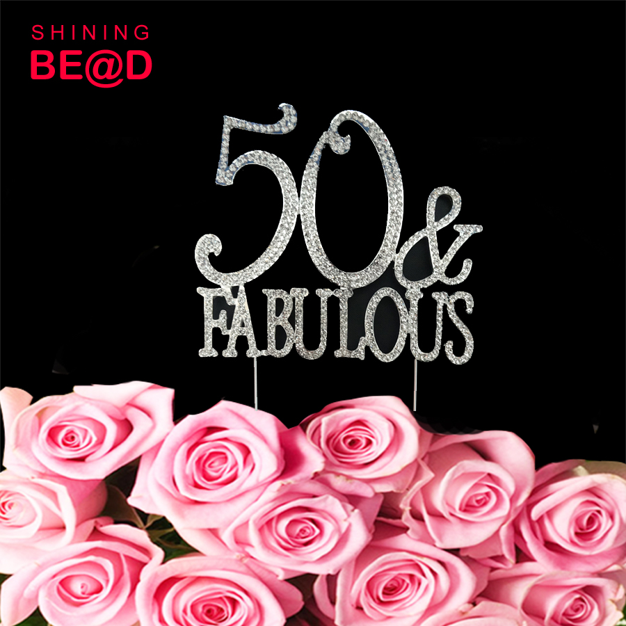 50 & Fabulous, 50th Birthday Cake Topper, Crystal Rhinestones on Silver Metal, Party Decorations